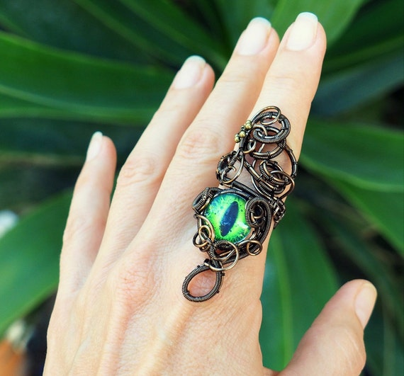 Green dragon eye ring ~ Wire wrapped ~ Statement ring