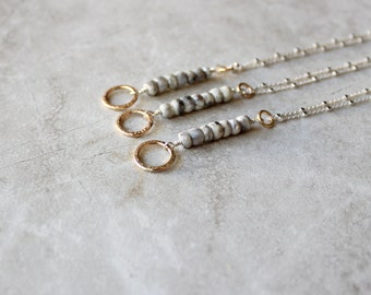Silverite + Circle Necklace, Bridal Necklace, 14kt Gold Fill Necklace