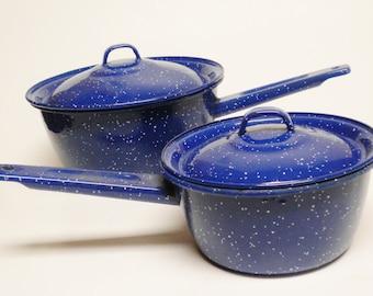 Sauce Pan Set, Blue Enamelware Sauce Pan Set, Vintage Kitchen Cookware