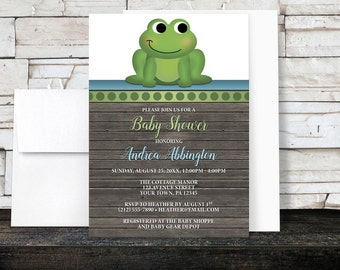 Frog Baby Shower Invitations Boy - Rustic Wood Cute Froggy Green Blue Brown - Boy Baby Shower - Printed Invitations