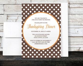 Thanksgiving Dinner Invitations - Polka Dot Brown with Orange - Printed Invitations