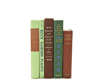 GARDENING Book Collection, Decorative Books, Vintage Books, Plant Gift, House Plants, Old Book Set, Green Books, Book Decor, Lillies, Plants