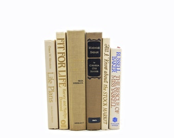 Beige Brown Decorative Books, Vintage Book Set, Wedding  Decor Centerpiece, Book COllection, coffee Old Books, Home Design Instant Library
