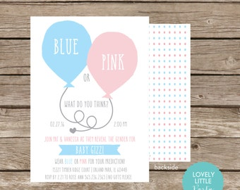 Gender Reveal Party Invitation, Blue or Pink what do you think, Gender announcement - Lovely Little Party