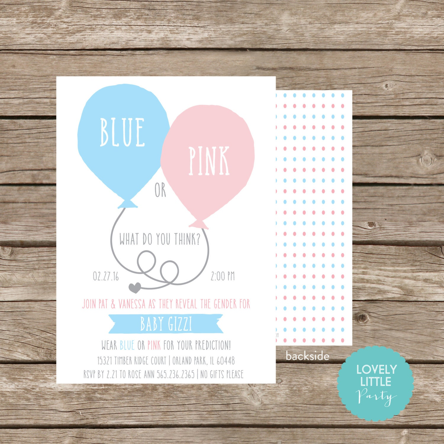Gender Reveal Party Invitation, Blue or Pink what do you think ...