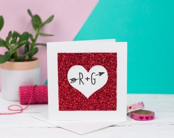 Valentine Card - Giltter heart card - Anniversary card - Custom initials card - Glitter fabric card - Heart and arrow card - Love heart card