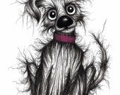 Fluffy the cute dog Print download Adorable little pet puppy pooch doggy with sticky up ear Lovely pup with friendly happy cheerful face