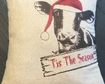 Christmas Pillow, Farmhouse, Cow pillow, Rustic, Christmas, Holiday pillow, Farm animals, 12x12 farmhouse