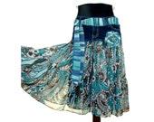Boho Skirt, Shabby Chic Skirt, Upcycled Clothing, Hippie Skirt, OOAK Upcycled Denim Skirt, Gypsy Skirt, Eclectic Style, Altered Couture