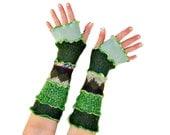 Green Arm Warmers, Green Fingerless Gloves, Upcycled Clothing, Upcycled Arm Warmers, OOAK Arm Warmers, Leprechaun, St. Patrick's Day, Green