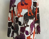 Vintage Mod tunic top tiger cat print by Goldworm sz S