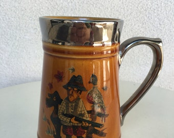Vintage beer stein mug hunter theme by Lord Nelson Pottery England #108 silver trim