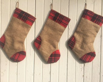 Plaid Flannel & Burlap Christmas Stocking- 3 Plaid Designs Available- Rustic-Cabin-Woodland-Country-Holiday Decor