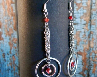 Long Micro Byzantine Earrings with Faceted Red Glass Beads