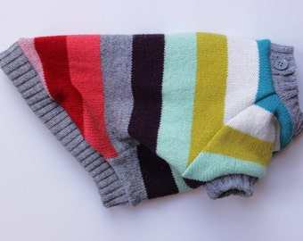 XXXS Colourful Stripe Dog Sweater, Upcycled