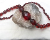 """Necklace, Cherry Amber Bakelite Faceted Beads, Translucent Red, 35"""""""