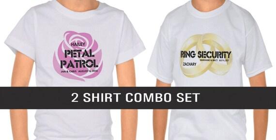 Ring Security Shirt AND Petal Patrol Shirt, Ring Bearer & Flower Girl Gifts, Gold Wedding Band Rings, Pink Rose : Wedding Sale - 2 for 25.00