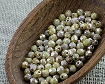 Opaque Warm Gray Glass Beads 4mm (50)Czech Fire Polished Faceted Round Green Picasso Neutral