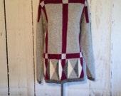 Vintage 80s Premier Moda  Sweater - Silk Angora lambswool - Purple and Gray - Large