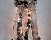 Christmas Tree Topper - Burlap Ribbon Tree Topper with 7 FT Streamers - Christmas Tree Decoration - Hand Made Bow