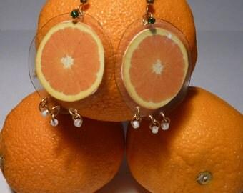 Orange Earrings-Orange Slice-Carmen Miranda-Fruit Earrings-Lightweight-Laminated Earrings-Dangle Earrings-Culinary-Fun