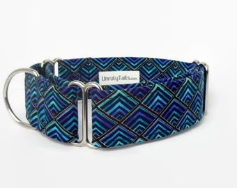 Diamond Peacock Plumes Adjustable Dog Collar- Martingale Collar or Side Release Buckle Collar -Geometric diamonds in blue tones & Gold Lines