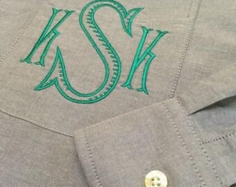 Monogram Button up Shirt - Monogrammed Oversize Shirt - Monogram Oxford Shirt - Monogrammed Oxford Shirt - Monogram Boyfriend shirt