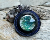 RESERVED Peacock Feather Jewelry Magnified Feather Pendant Necklace Eco Friendly Jewelry