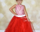Red Lace Couture Flower Girl  Corset Tutu Dress  SIZES 12M - girls 7