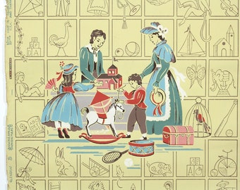 REMNANT of Vintage Wallpaper, Single 26 Inch Piece - Segmant of Childrens Wallpaper with Scene of Children and Mother at Toystore on Yellow