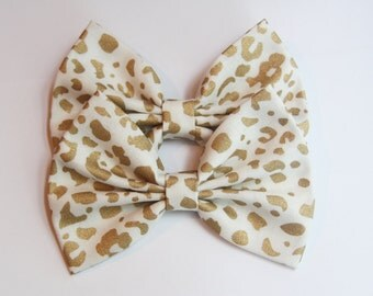 SALE - Helena Hair Bow - White & Light Metallic Gold Leopard Animal Print Pattern Hair Bow with Clip