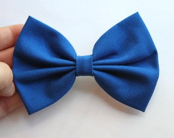 Brittany Hair Bow - Blue Solid Color Hair Bow with Clip