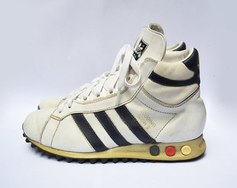 Vintage ADIDAS Jogging High 2 high top white leather women trainers / sneakers / EU 37 1/2