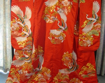 Vintage Silk Embroidered Silk Kimono Uchikake with Mutili-colored Cranes in Flight