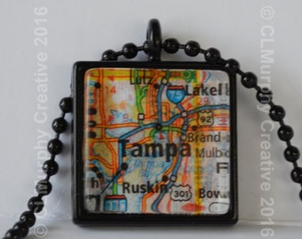 Tampa Map Pendant Necklace Jewelry Tampa Florida FL