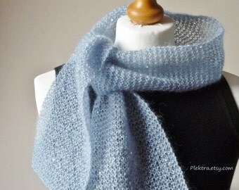 Blue sequined scarf - Hand knitted scarflette - Ladies mohair scarf - One of a kind