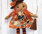 Tiny Halloween Witch Annie Ornament - Primitive Raggedy Ann Doll (HAFAIR)