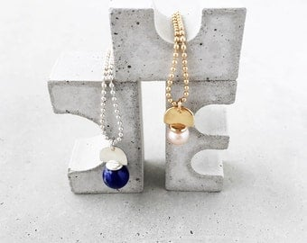 Gem Ball Arch Pendant / sterling silver ball chain / lapis lazuli, malachite