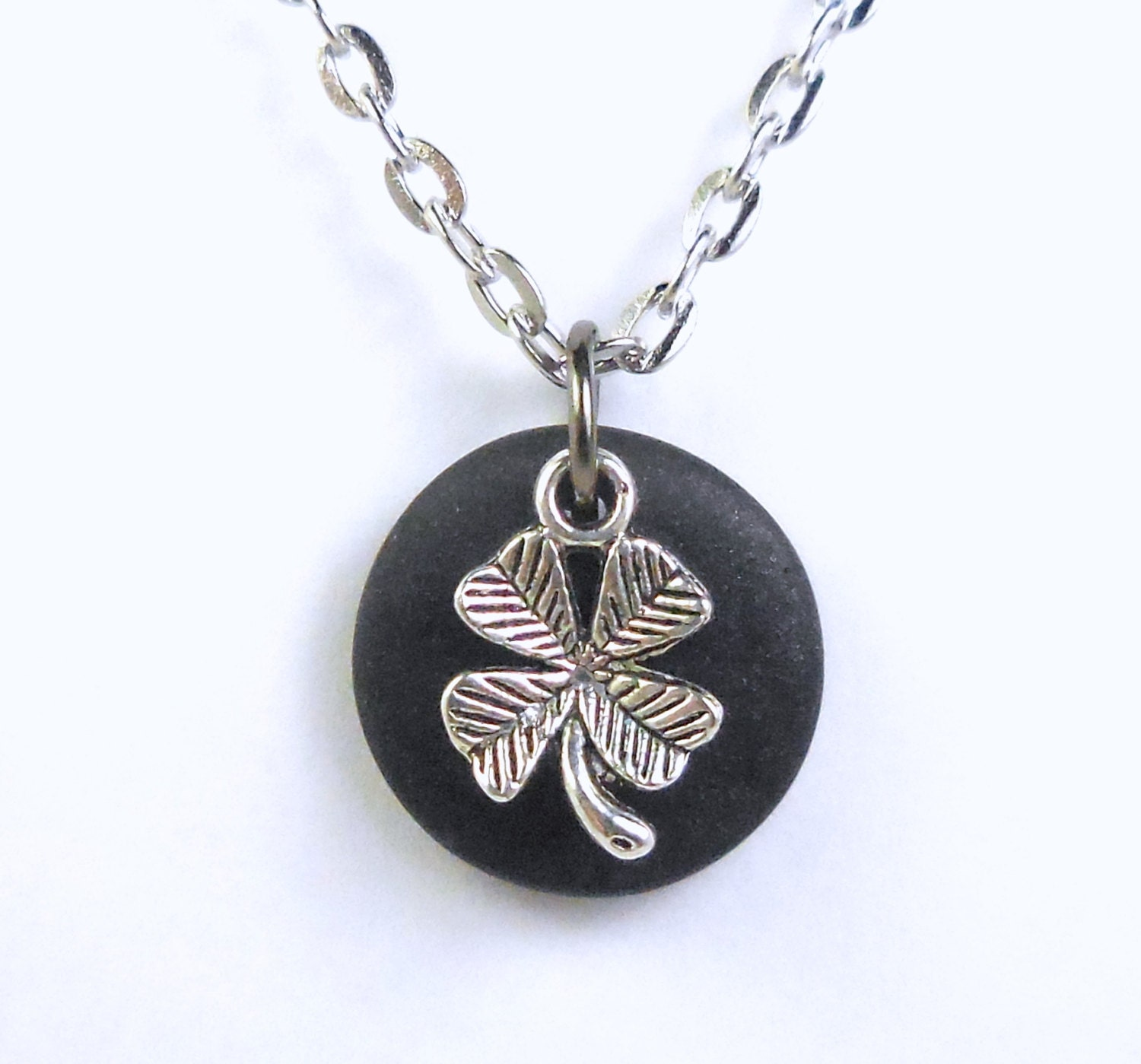 Four Leaf Clover Good Luck Charm Necklace Black Lucky Clover. Fun Jewelry. Aqua Blue Earrings. Chain Pendant. Mens Ring