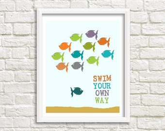 Instant Printable Digital Download - Swim Your Own Way - 8x10 Kids Digital Art Print