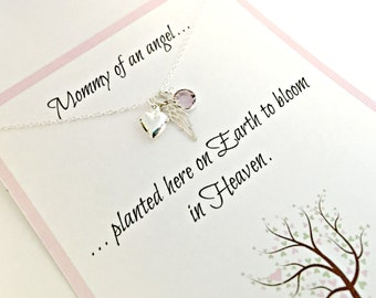 Memorial Gift - Angel Wing Necklace - Personalized Loss of Child Sympathy Gift - Mommy of an Angel - Planted on Earth to Bloom in Heaven
