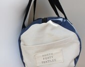 READY TO SHIP! Canvas Duffle Bag / Overnight Bag / Gym Bag in Blue and Natural Organic Cotton