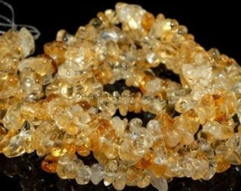 Yellow Citrine Chip Beads , 5-8mm in size, 16 inch strand - #5 - Jewelry Supply, Bead Strand, Gemstone Beads, Semi Precious Beads - Natural