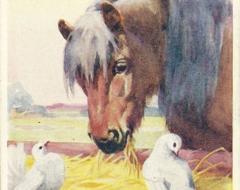 Farmyard Friends - Vintage 1940s Artist-signed Pony and Doves Postcard
