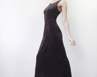 90s Vintage brown croc skin print velvet tiny strap evening maxi dress XS S