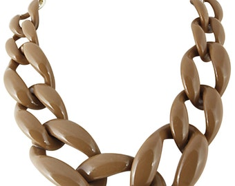 Chunky Link Necklace Taupe Necklace