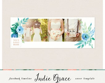 Facebook Timeline Cover - Watercolor floral Photoshop Template - Instant Download Photographer template