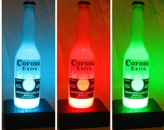 led multicolor lamps - gift, beer bottle light with diamond effect,  remote control Corona bottle recycled lamp, night light