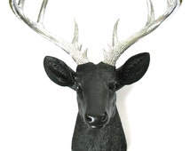 BLACK SILVER XL Faux Taxidermy Deer Head wall mount wall hanging / stag / faux animal head / office / metallic antlers / woodland / modern