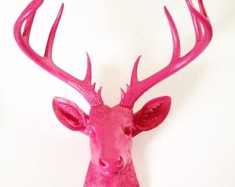 HOT PINK Faux Taxidermy XL Deer Head wall mount wall hanging decor // woodland decor / faux taxidermie / fake deer head / nursery / office